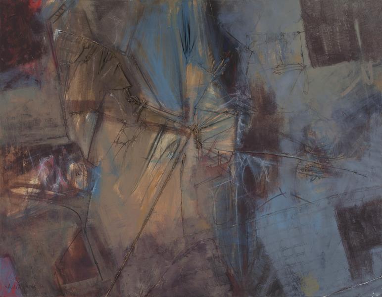Julia Valdés, Interiores de la Habana Vieja (Interiors of Old Havana), 2003. Oil, jute and collage of fabrics on canvas, 55 1/8 x 70 7/8 in.