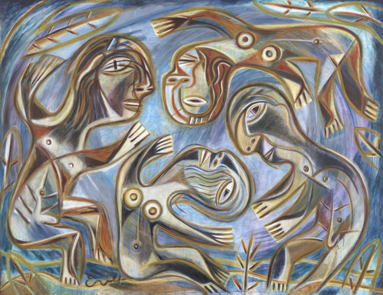 Ever Fonseca, Familia en el charco (Family On the Pond), 2000. Oil on canvas, 60 1/2 x 78 1/2 in.