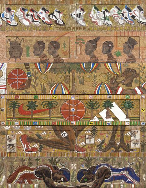 Douglas Pérez, El jardín del alardoso (Igbofefe) (The Garden of the Braggart (Igbofefe)), 2012. Mixed media on wood, 67 x 52 in.