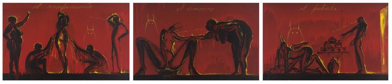 José Bedia, El rompimiento, El amarre, El patakí (The Breaking, The Tying, The Legend), 2013. Acrylic on canvas, three panels of 29 1/2 x 47 3/4 in. each.
