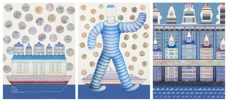 Carlos Rodríguez Cárdenas, Goodyear Tryptic, 2013. Watercolor, pencil, and fabric on paper, 3 panels, 30 x 22 in. each.