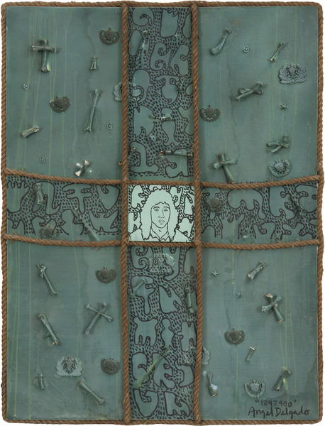 Ángel Delgado, Untitled (1242900), 1995. Mixed media collage on canvas with acrylic paint, rope, and animal bone, 47 1/4 x 37 3/8 in.
