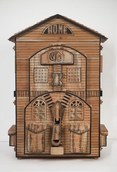 Abel Barroso, Casa Mochila, 2012. Mixed media and acrylic paint on cedar, 44 1/2 x 27 1/2 x 33 1/2  in.