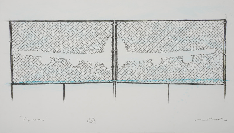 Arles del Río, Fly Away, 2012. Ink on cardboard, 20 1/2 x 35 1/2 in.