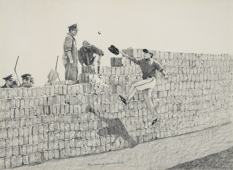 Frank Martínez, Otra manera de superar los límites (Another Way to Overcome the Limits), 2011. Charcoal on paper, 25 1/4 x 34 1/2 in.