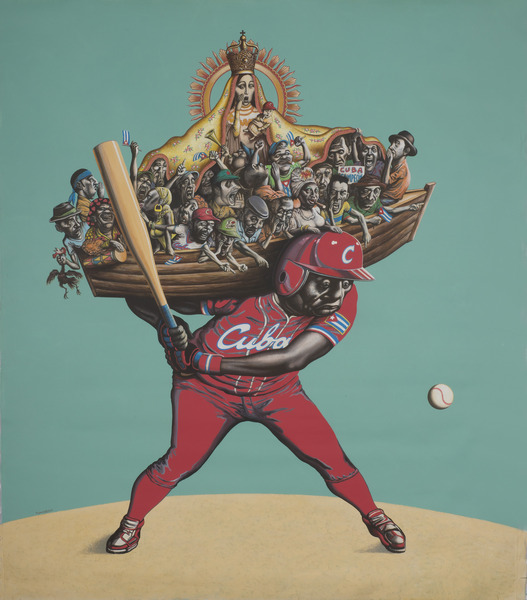 Reynerio Tamayo, El cuarto bate (The Cleanup Hitter), 2013. Acrylic on canvas, 62 3/4 x 54 3/4 in.