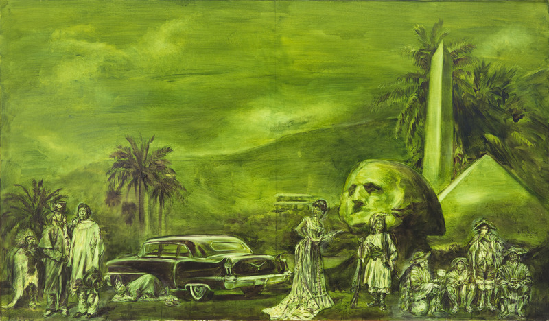 Pedro Álvarez,One, from the series The Romantic Dollarscape, 2003. Oil on linen, 55 1/2 x 75 1/2 in.