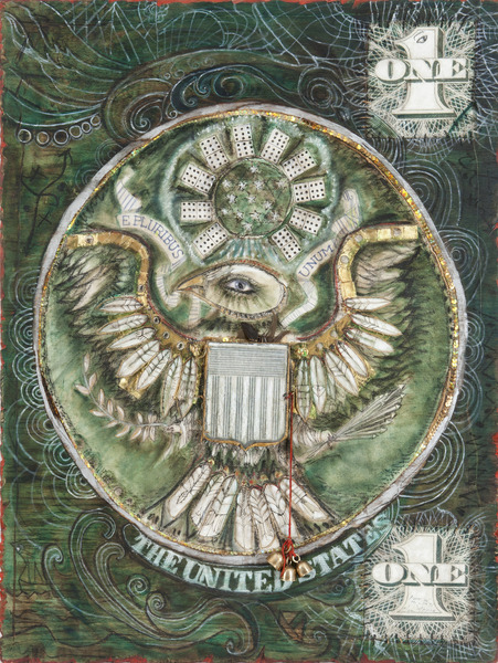 Clara Morera, El Gran Sello II (The Great Seal II), 2009. Mixed media on wood, 48 x 36 in.