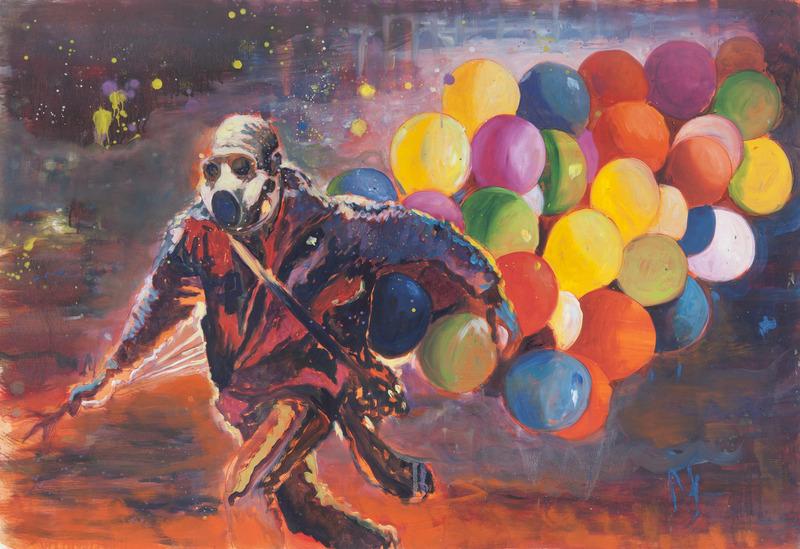 Armando Mariño, Happy Protester, 2012. Oil on paper, 30 x 44 in.