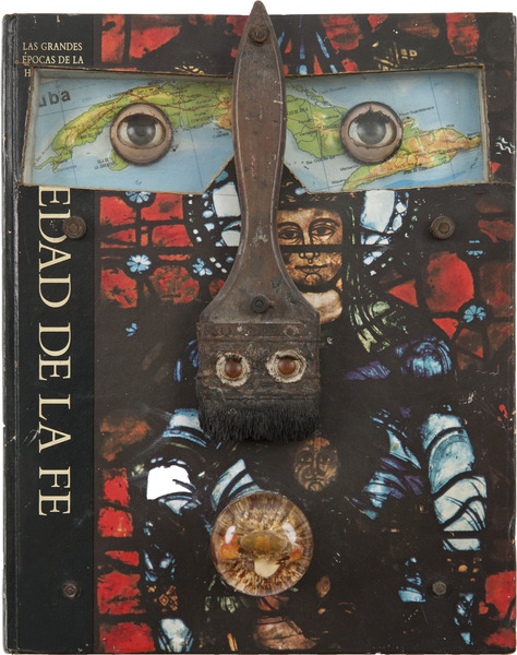 Eduardo Ponjuán, La Edad de la Fe (The Age of Faith), 1998. Object (Book, paint brush, plexiglass, cut-and-pasted printed paper, found objects and screws), 11 x 9 x 1 1/2 in.