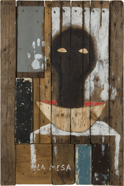 Roberto Diago, La Mesa (The Table), 2009. Petroleum, latex paint and nails on wood, 47 1/4 x 31 1/2 x 2 3/4 in.