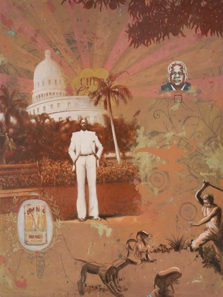 Alexis Esquivel, Héroe postcolonial (Postcolonial Hero), 2010. Acrylic on canvas, 77 x 57 1/2 in.