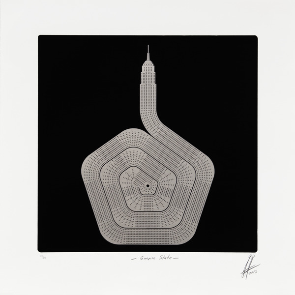 Empire State, from the series No Limits, 2013. Photolithograph with aluminum dusting, 20 1/2 x 20 1/2 in. Ed. 11/30.
