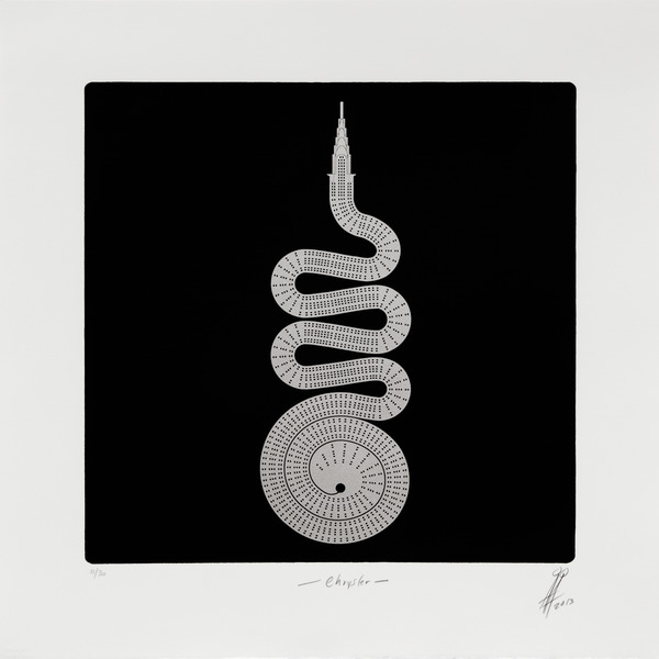 Chrysler, from the series No Limits, 2013. Photolithograph with aluminum dusting, 20 1/2 x 20 1/2 in. Ed. 11/30.
