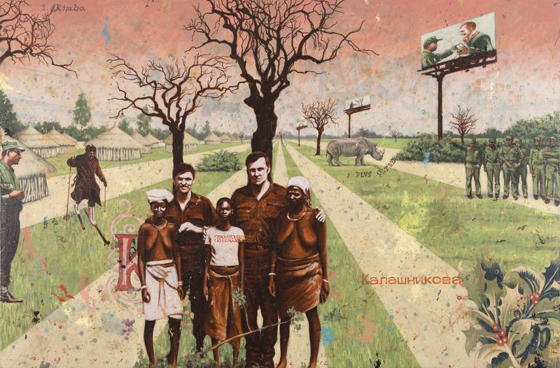 Postales de la guerra (Postcards from the War), 2012. Acrylic on canvas, 51 x 76 1/2 in.