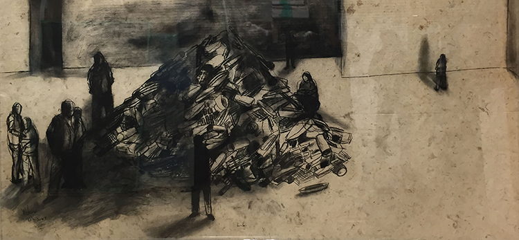 La Loma (The Hill), 2004. Charcoal on handmade paper, 46 1/4 x 94 in.