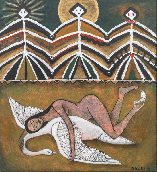 Odette y el cisne (Odette and the Swan), 2008. Acrylic on canvas, 15 1/2 x 14 in.