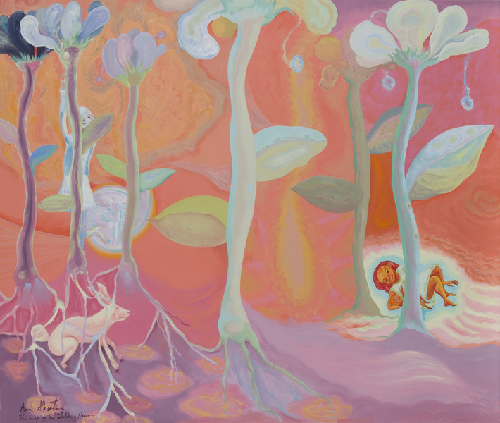 The Map of the Walking Flowers, 2007. Acrylic on canvas, 44 x 52 1/4 in.