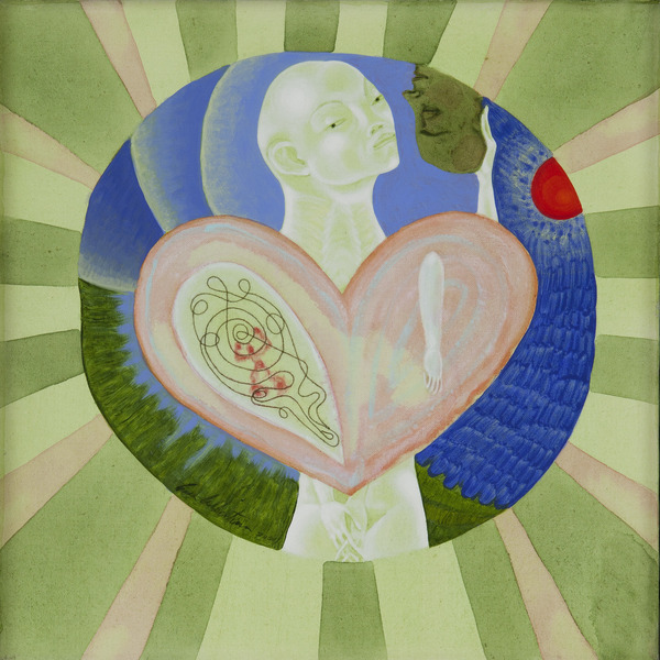 Cosiendo mi corazón (Sewing my Heart), 2001. Acrylic and thread on canvas, 18 x 18 in.