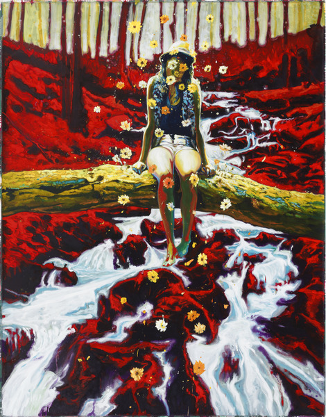Girl Over Trouble Waters, 2013. Oil on canvas, 92 1/2 x 71 1/2 in.