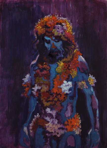 The Flower Man, 2012. Oil on paper, 30 1/4 x 22 in.