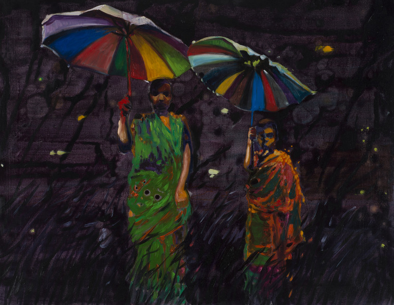 Two Monks, 2013. Oil on canvas, 27 1/4 x 35 1/4 in.