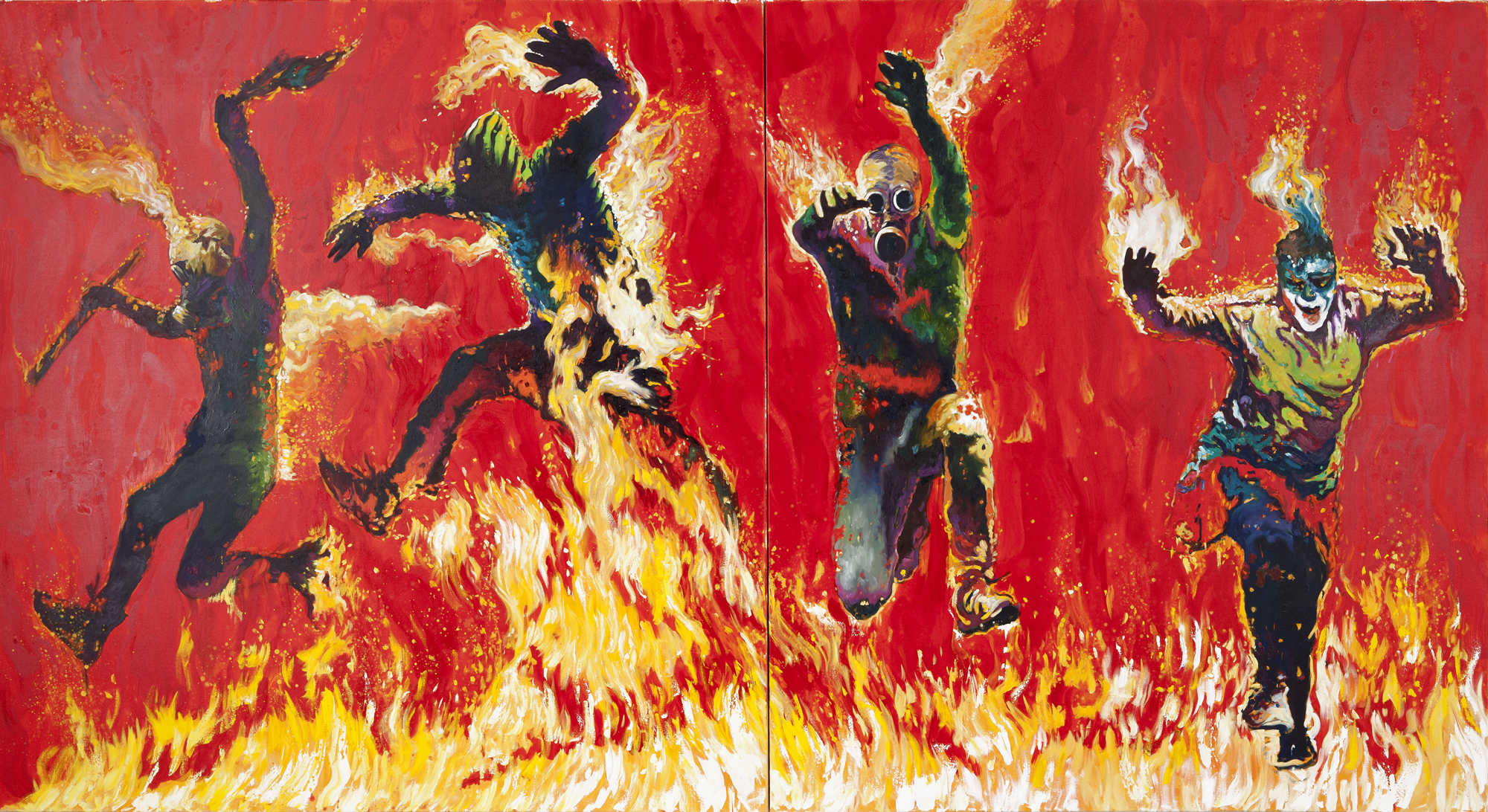 Inferno, 2012. Oil on canvas, two panels of 80 x 72 in. each.