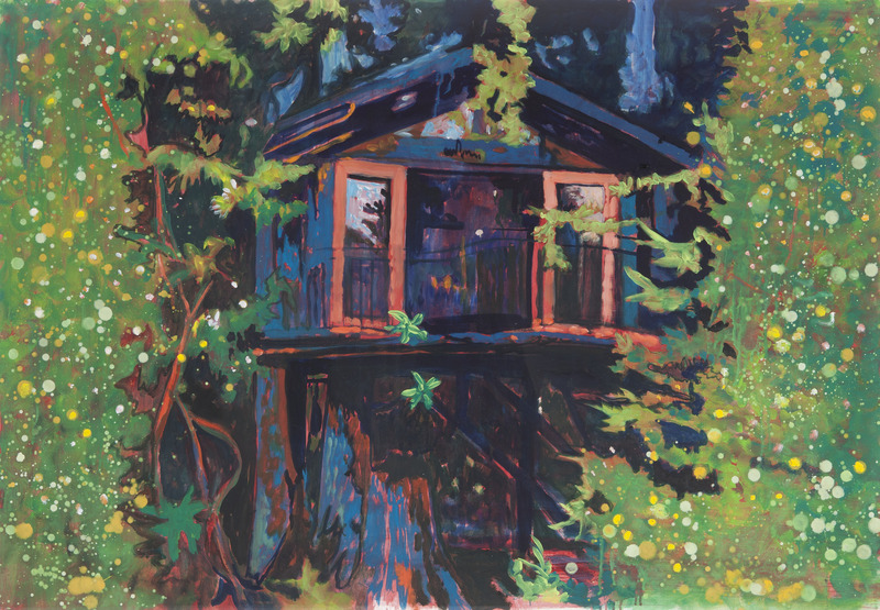 Tree House, 2012. Oil on paper, 30 x 44 in.