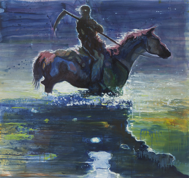 The Lost Rider!, 2011. Oil on paper, 38 x 40 1/2 in.