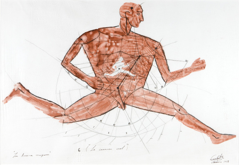 6 (La carrera real), de la serie Los arcanos mayores (6 (The Real Race), from the series The Major Arcana), 1995. Watercolor, pencil and crayon on paper. 19 x 27 in.