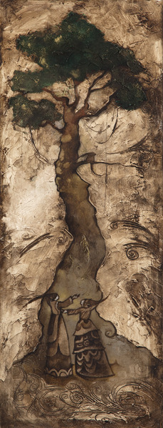 El árbol de los frutos de oro (The Tree of the Golden Fruits), 2003. Oil on canvas, 38 x 14 1/2 in.
