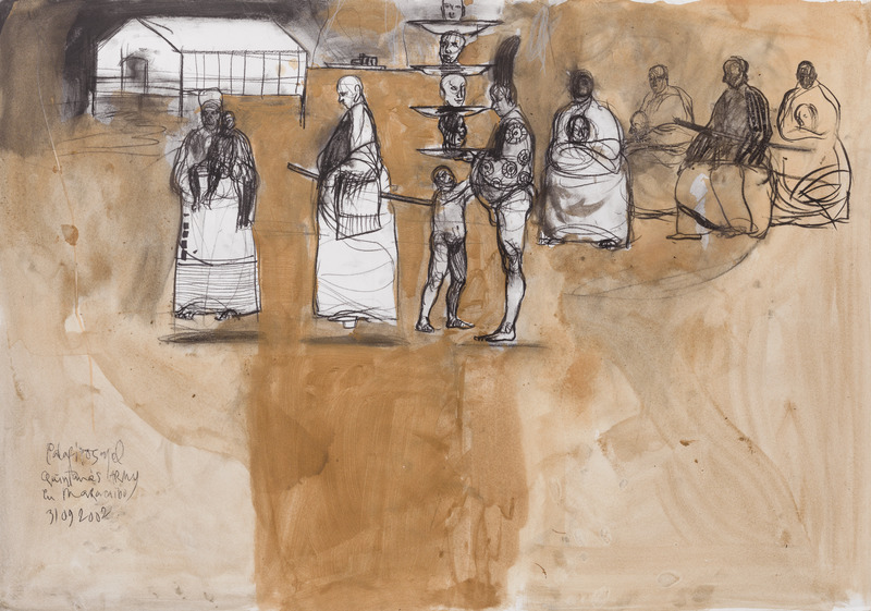 Palafitos en el Quintana's Army (Pile-Dwellings in Quintana's Army), 2002. Charcoal and ink on paper, 27 1/2 x 39 1/2 in.
