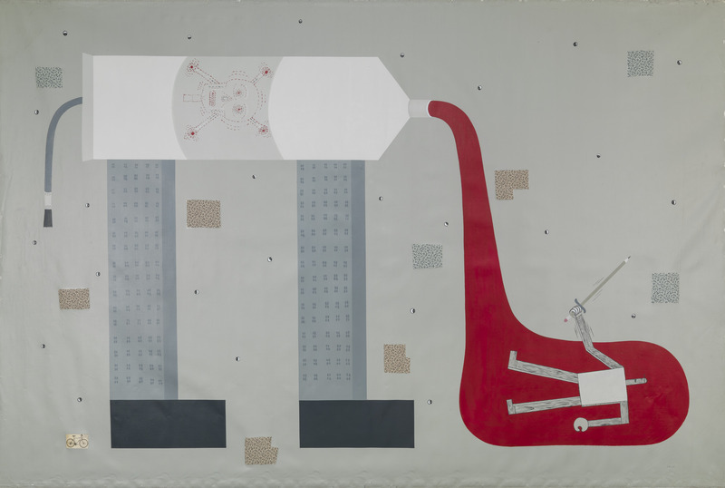 The Battle, 1994. Acrylic and collage of fabrics on linen, 68 1/2 x 103 1/4 in.