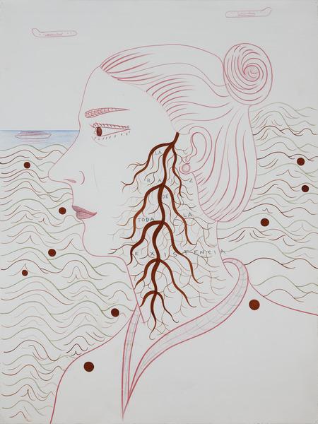 La raíz de toda la existencia (The Root of All Existence), n.d. Watercolor, pencil and colored pencil on paper, 30 x 22 1/4 in.
