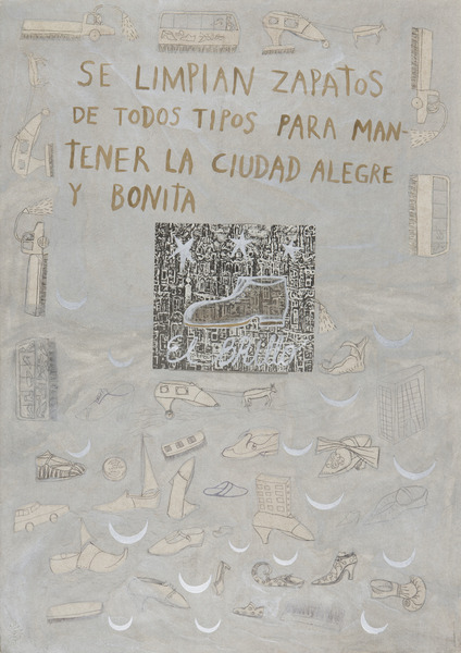 Limpiamos zapatos (We Clean Shoes), 1987. Pencil, acrylic and collage of paper on paper, 27 3/4 x 19 3/4 in.
