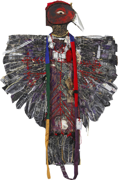 La Kite Mayimbe, 2013. Mixed media on canvas and wood, 60 x 41 x 3 in.