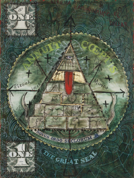 El Gran Sello (The Great Seal), 2009. Mixed media on wood, 48 x 36 in.