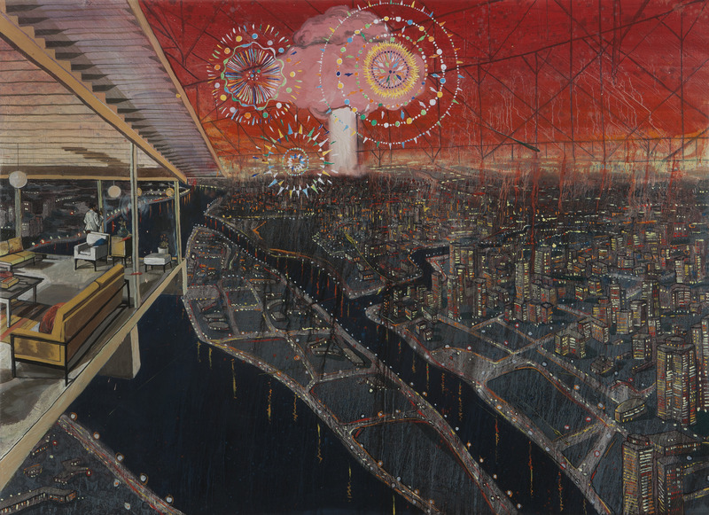 Celebración, de la serie Pictopía (Celebration, from the series Pictopia), 2010. Oil on canvas, 31 x 43 in.