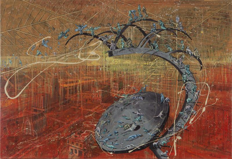 Retiro, de la serie Pictopía (Retreat, from the series Pictopia), 2008. Oil on canvas, 43 1/4 x 63 in.