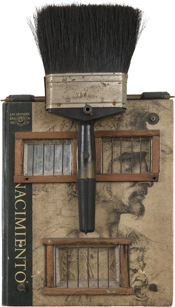 El Renacimiento (The Renaissance), 1998. Object (Book, paint brush, metal, wood and screws), 15 1/2 x 8 3/4 x 4 in.