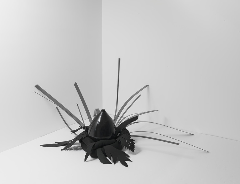 Elegguá, 2010. Stuffed fabric, ceramic, plexiglass and foam, 36 x 60 x 42 in.