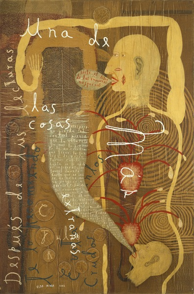 Dos cosas extraordinarias (Two Extraordinary Things), 2002. Oil, paper and cardboard collage on canvas. 36 x 24 in.