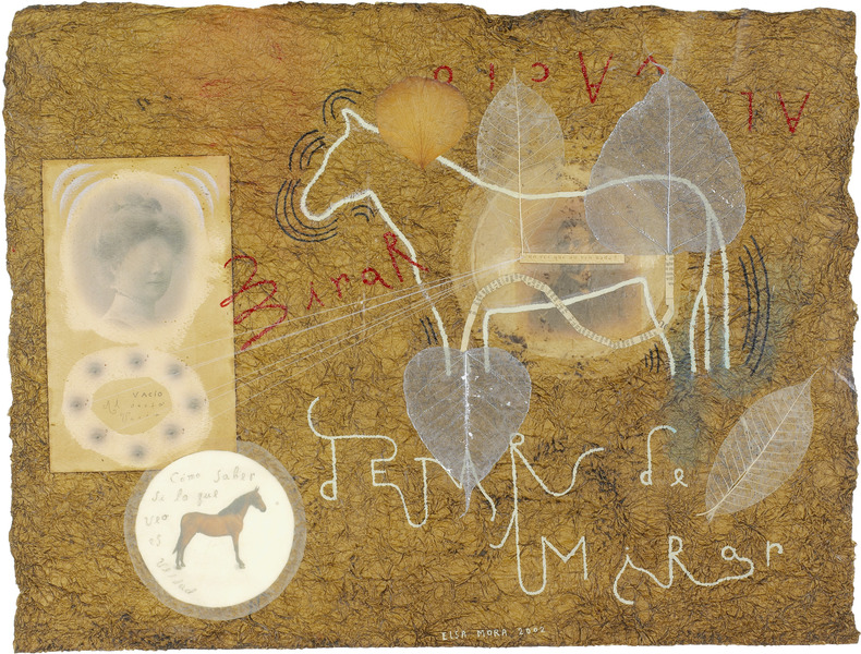 Mirar al vacío (Staring Off Into Space), 2002. Oil, leaves, thread and cut-and-pasted printed paper on handmade paper. 17 1/2 x 23 in.