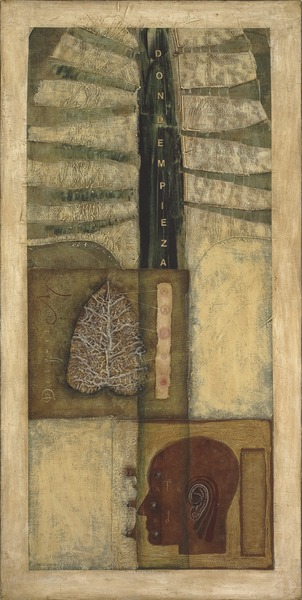 Todo miedo tiene que ver con la impermanencia (All Fears Have to Do With Impermanence), 2001. Oil, found object and paper collage on canvas. 48 x 24 in.