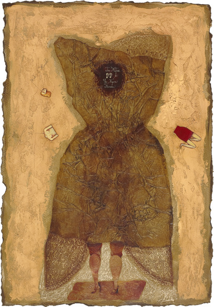 Tres misterios de la figura humana (Three Mysteries of the Human Figure), 1998. Oil, colored pencil and paper collage on handmade paper. 28 x 19 in.