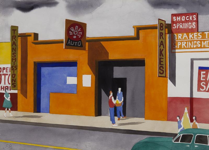 Orange Garage. Late 1980's Watercolor on paper. 22 x 30 in.
