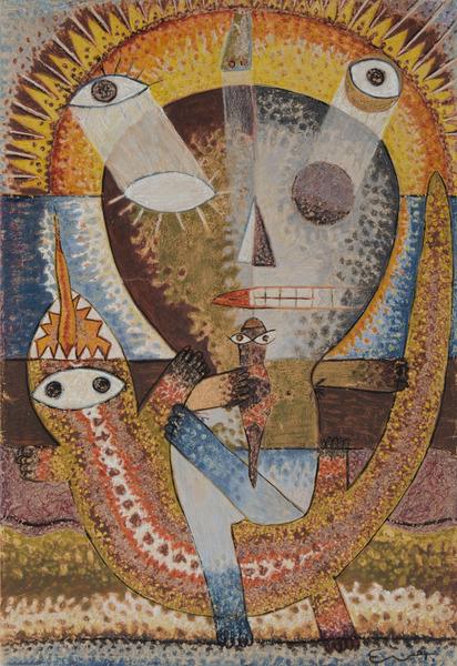 Guajiro con lagartija (Peasant with Lizzard), 1975. Oil pastel on paper. 28 3/4 x 20 1/16 in.