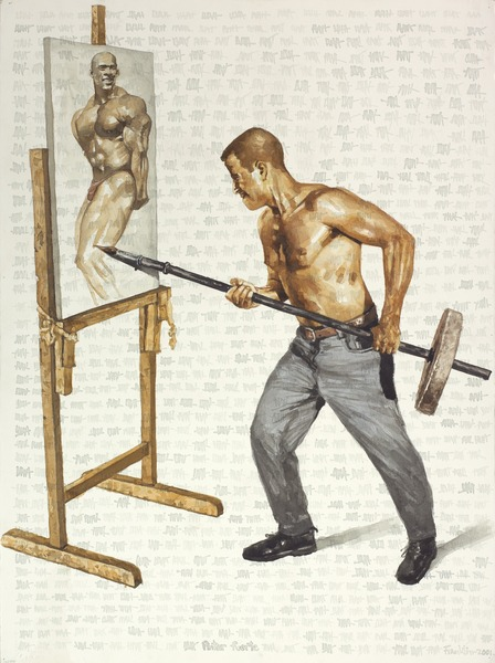 Pintor fuerte (Strong Painter), 2001. Watercolor on paper. 30 x 22 in.