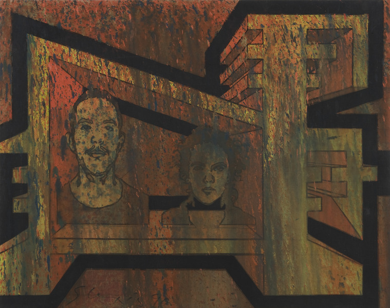 Carlos y Acela, de la serie Etapa Práctica (Carlos and Acela, from the series Practical Stage), 1990. Oil on canvas. 31 x 39 in.