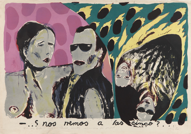 - ...¿Nos vemos a las cinco?.., de la serie Cuatro segundos de papel (- ...See You at Five?...from the series Four Seconds of Paper), 1985. Lithograph on cardboard. 21 1/8 x 31 1/8 in.